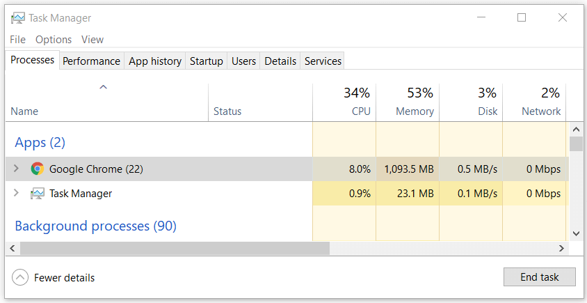 Kill the Chrome browser processes in task bar