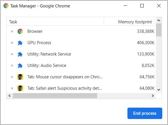 5. Chrome task manager - Chrome high CPU