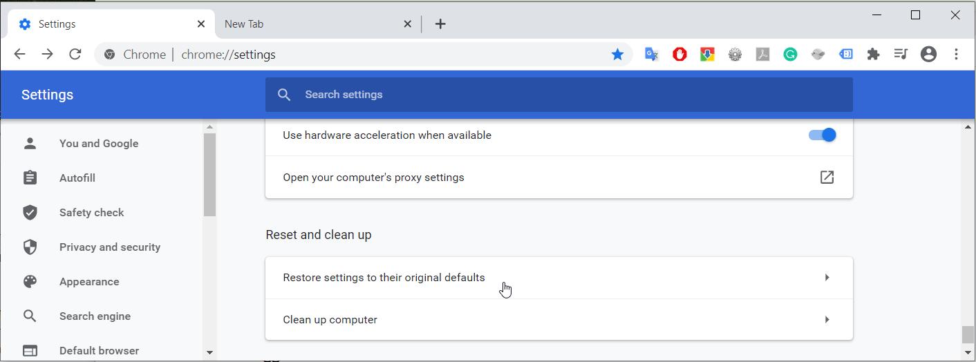 6. Reset Chrome - Chrome high CPU
