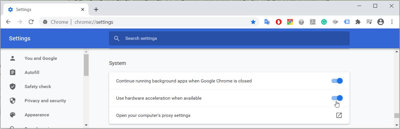 7. Toggle hardware acceleration - Chrome high CPU