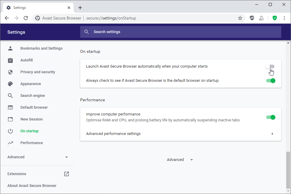 Launch Avast Secure Browser automatically when your computer starts - uncheck