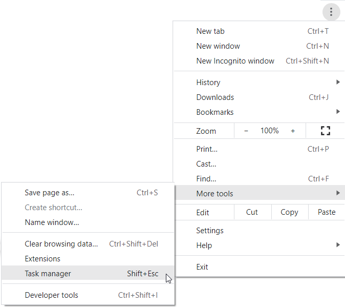 Open More tools and Task manager (Shift + Esc)