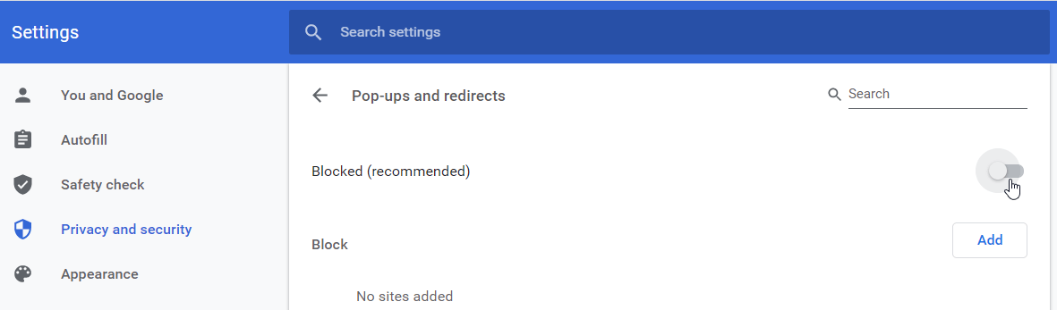 How to block redirects and popups in Chrome Settings