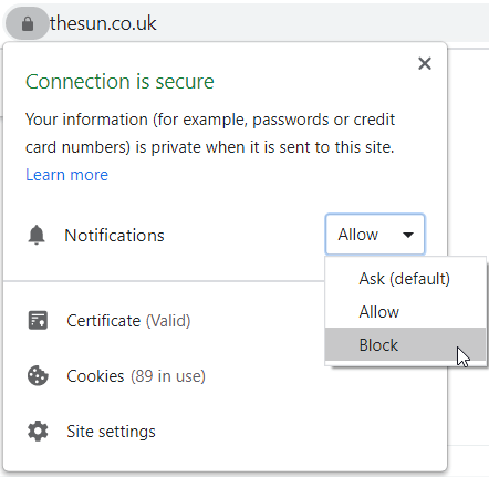How to disable notifications in Chrome
