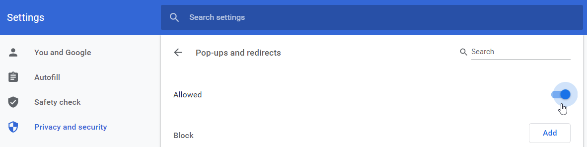 How to allow redirects and popups in Chrome Settings