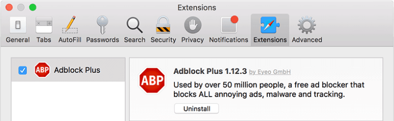 Is Safari running slow on Mac? - Click on Extensions menu and remove extensions you don't need (Adblock Plus as an example)