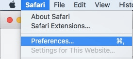 disable WebRTC in Safari browser step 1 - Safari menu - Preferences