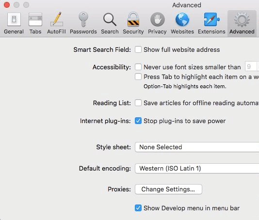 disable WebRTC in Safari browser step 2 - Advanced tab and tick Show Develop menu in menu bar