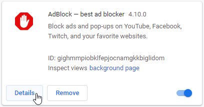 enable adblock in incognito mode step 2 - find adblock extension and click on details