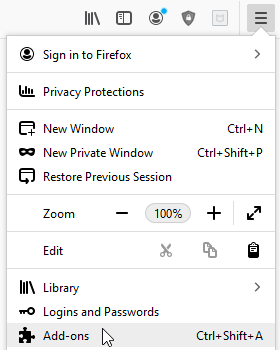 enable adblock in private browsing step 1 - select hamburger option and click on add-ons