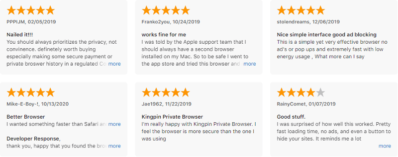 Kingping Private Browser ratings on Apple Store