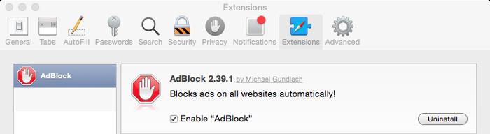 Example of AdBlock extensions on Safari for Mac