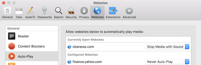 Websites > Auto-play options in Safari Settings on macOS