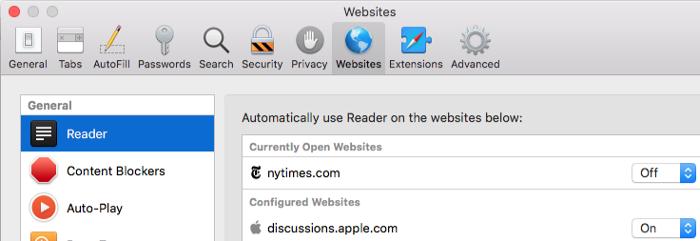 Safari Reader mode settings on macOS