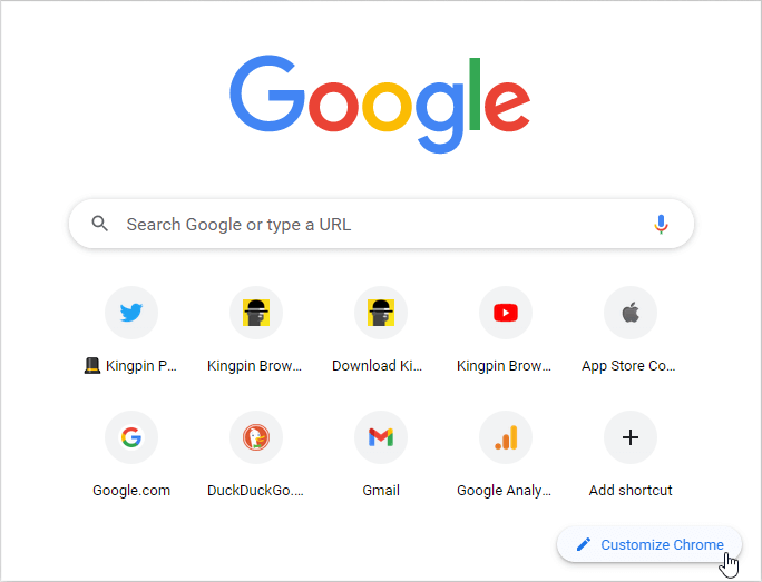 Customize Chrome to hide shortcuts