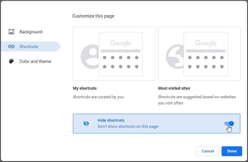 Hide shortcuts (thumbnails) from Chrome homepage and Chrome new tab